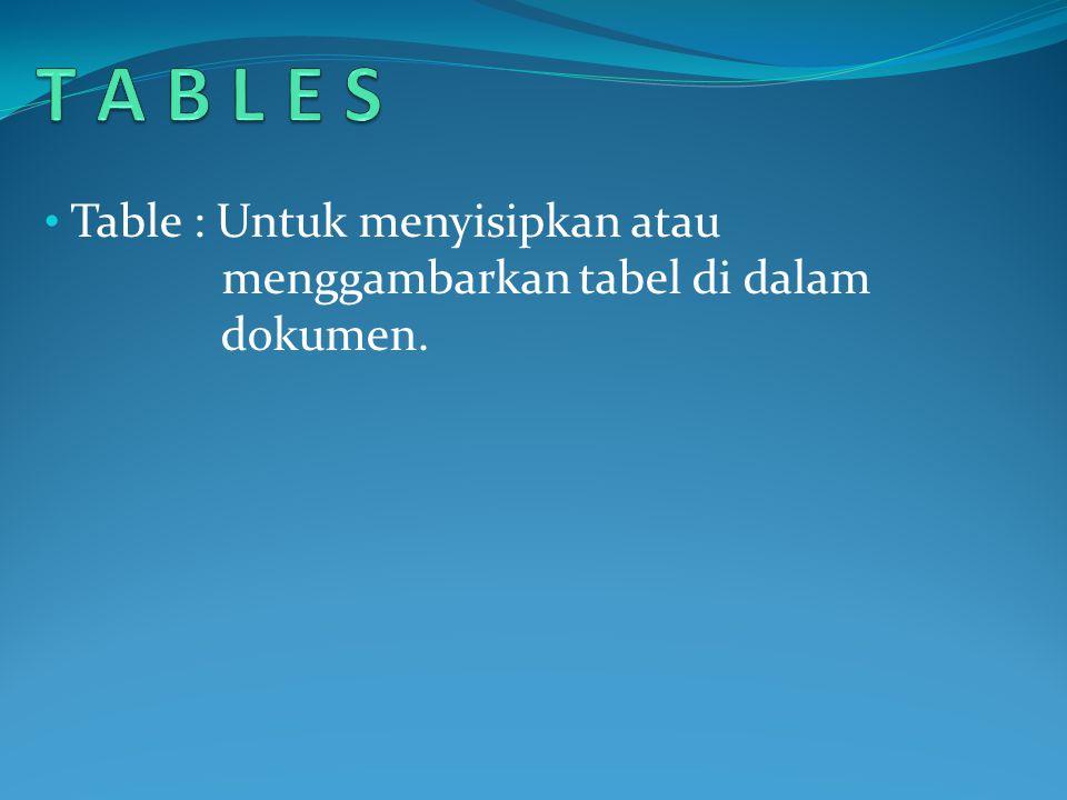 • Table : Untuk menyisipkan atau menggambarkan tabel di dalam dokumen.