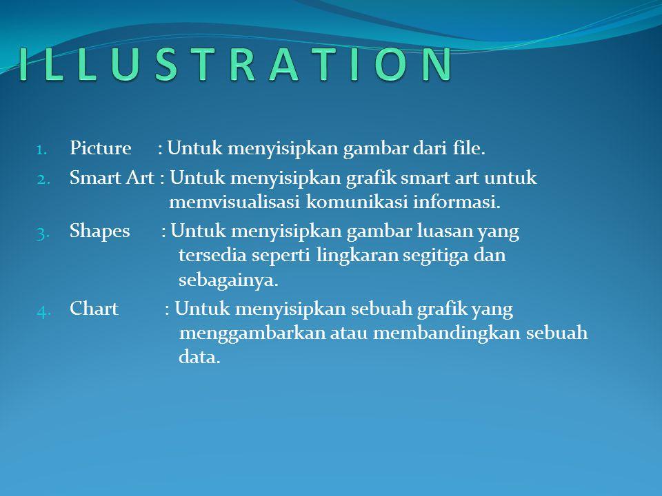 1. Picture : Untuk menyisipkan gambar dari file. 2. Smart Art : Untuk menyisipkan grafik smart art untuk memvisualisasi komunikasi informasi. 3. Shape