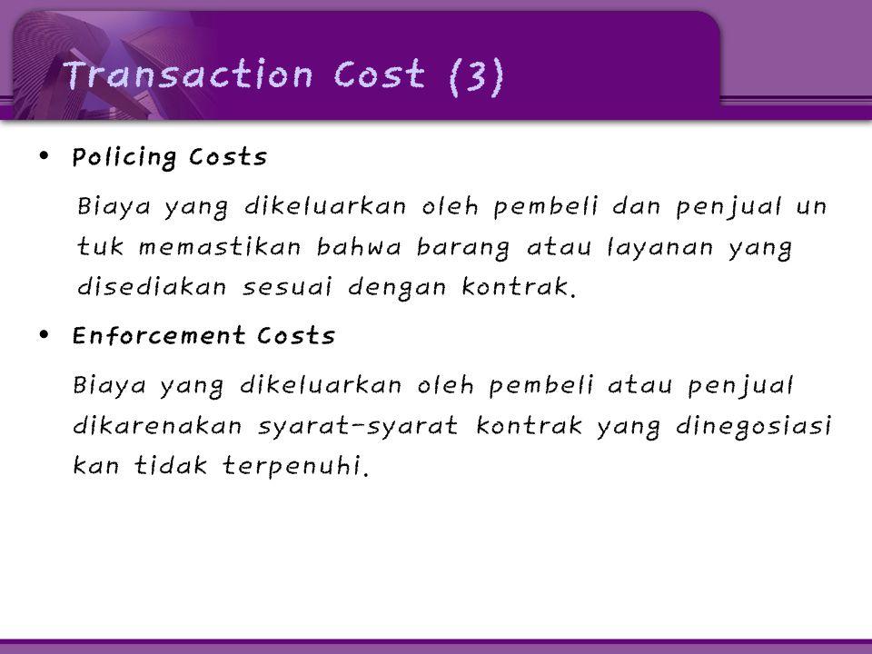 Transaction Cost (3) • Policing Costs Biaya yang dikeluarkan oleh pembeli dan penjual un tuk memastikan bahwa barang atau layanan yang disediakan sesu