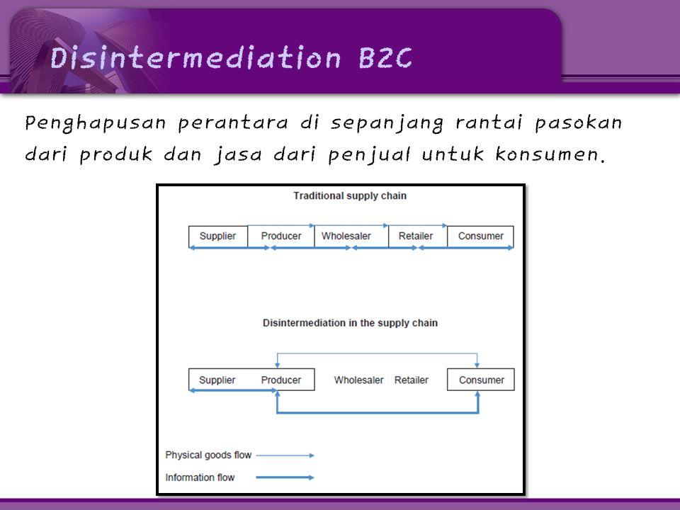 Disintermediation B2C Penghapusan perantara di sepanjang rantai pasokan dari produk dan jasa dari penjual untuk konsumen.