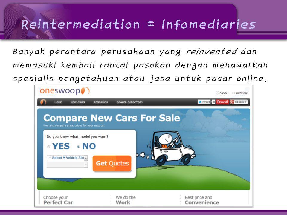 Reintermediation = Infomediaries Banyak perantara perusahaan yang reinvented dan memasuki kembali rantai pasokan dengan menawarkan spesialis pengetahu