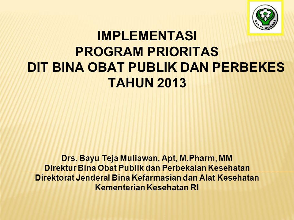IMPLEMENTASI PROGRAM PRIORITAS DIT BINA OBAT PUBLIK DAN PERBEKES TAHUN 2013 Drs. Bayu Teja Muliawan, Apt, M.Pharm, MM Direktur Bina Obat Publik dan Pe