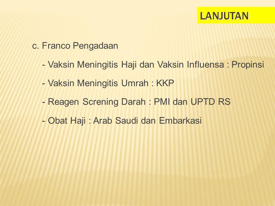 LANJUTAN c. Franco Pengadaan - Vaksin Meningitis Haji dan Vaksin Influensa : Propinsi - Vaksin Meningitis Umrah : KKP - Reagen Screning Darah : PMI da