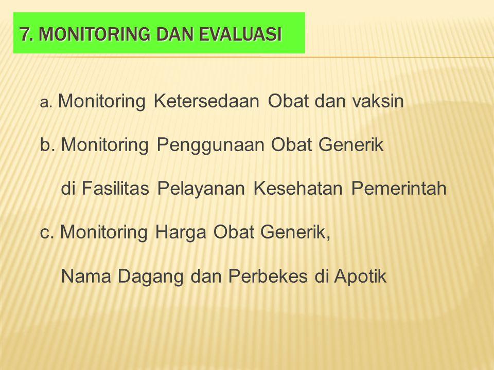 7. MONITORING DAN EVALUASI a. Monitoring Ketersedaan Obat dan vaksin b. Monitoring Penggunaan Obat Generik di Fasilitas Pelayanan Kesehatan Pemerintah