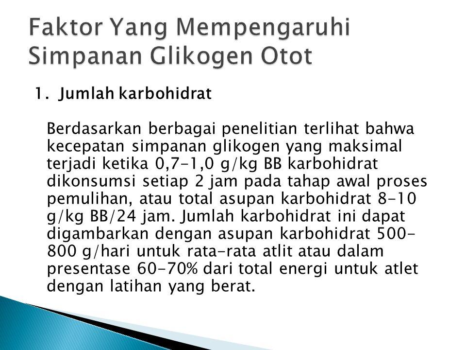 1. Jumlah karbohidrat Berdasarkan berbagai penelitian terlihat bahwa kecepatan simpanan glikogen yang maksimal terjadi ketika 0,7-1,0 g/kg BB karbohid