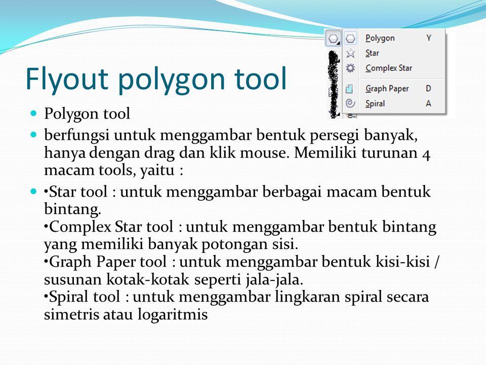 Flyout polygon tool  Polygon tool  berfungsi untuk menggambar bentuk persegi banyak, hanya dengan drag dan klik mouse. Memiliki turunan 4 macam tool