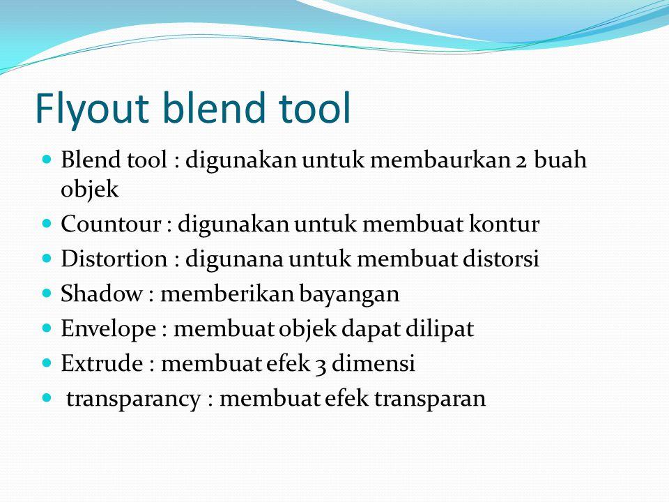 Flyout blend tool  Blend tool : digunakan untuk membaurkan 2 buah objek  Countour : digunakan untuk membuat kontur  Distortion : digunana untuk mem