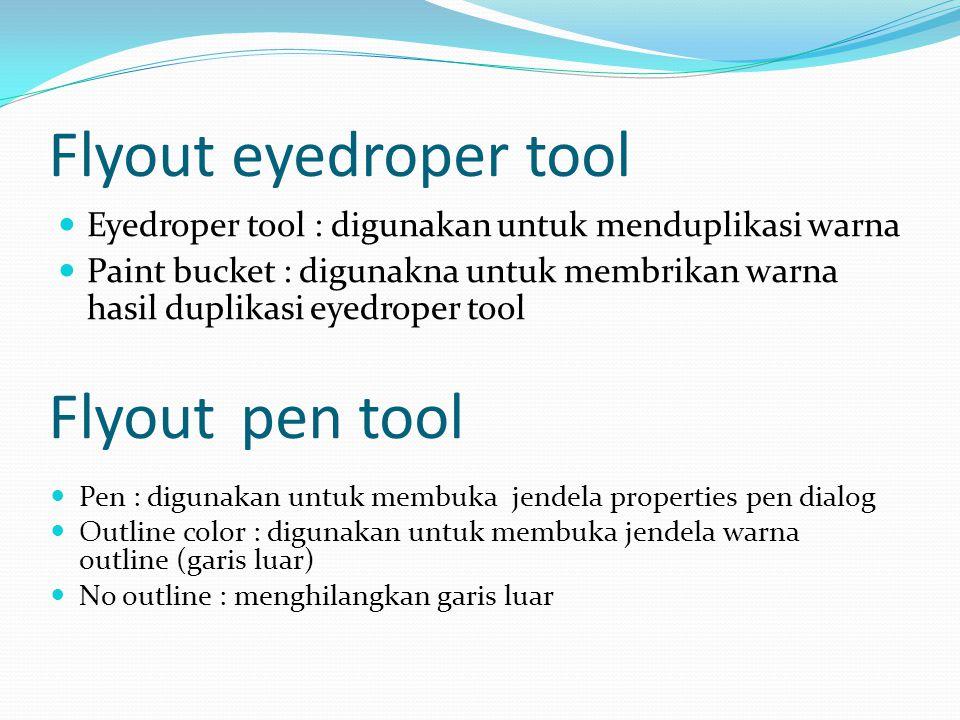 Flyout eyedroper tool  Eyedroper tool : digunakan untuk menduplikasi warna  Paint bucket : digunakna untuk membrikan warna hasil duplikasi eyedroper