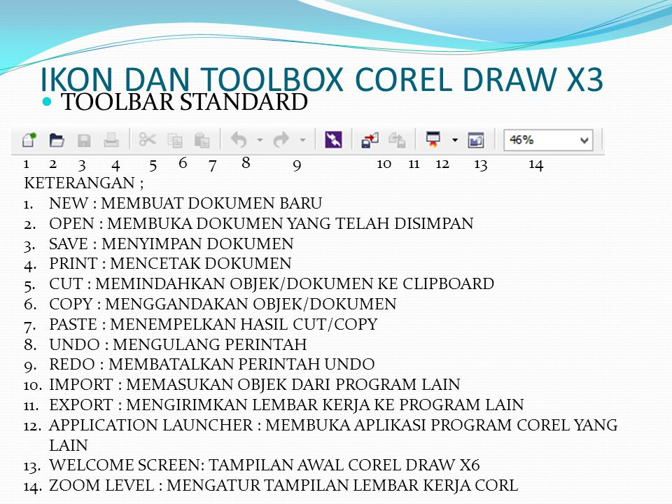 IKON DAN TOOLBOX COREL DRAW X3  TOOLBAR STANDARD 12 3 4 5 6 7 8 9 10 11 12 13 14 KETERANGAN ; 1.NEW : MEMBUAT DOKUMEN BARU 2.OPEN : MEMBUKA DOKUMEN Y