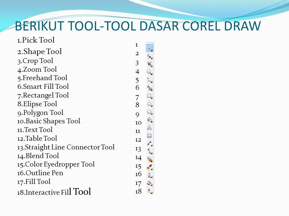 BERIKUT TOOL-TOOL DASAR COREL DRAW 1.Pick Tool 2.Shape Tool 3.Crop Tool 4.Zoom Tool 5.Freehand Tool 6.Smart Fill Tool 7.Rectangel Tool 8.Elipse Tool 9