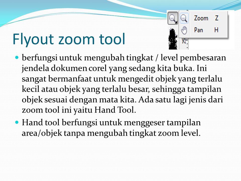 Flyout zoom tool  berfungsi untuk mengubah tingkat / level pembesaran jendela dokumen corel yang sedang kita buka. Ini sangat bermanfaat untuk menged