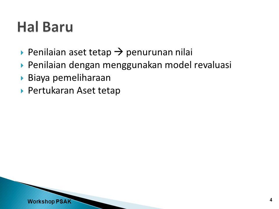  Penilaian aset tetap  penurunan nilai  Penilaian dengan menggunakan model revaluasi  Biaya pemeliharaan  Pertukaran Aset tetap Workshop PSAK 4
