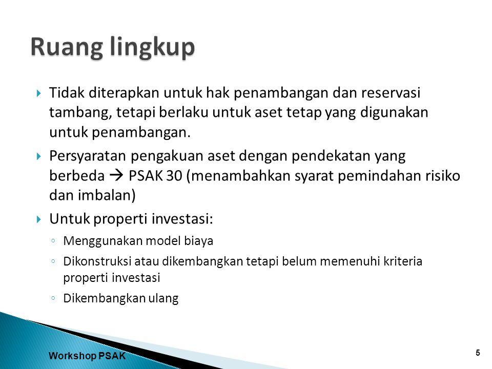  Tidak diterapkan untuk hak penambangan dan reservasi tambang, tetapi berlaku untuk aset tetap yang digunakan untuk penambangan.  Persyaratan pengak