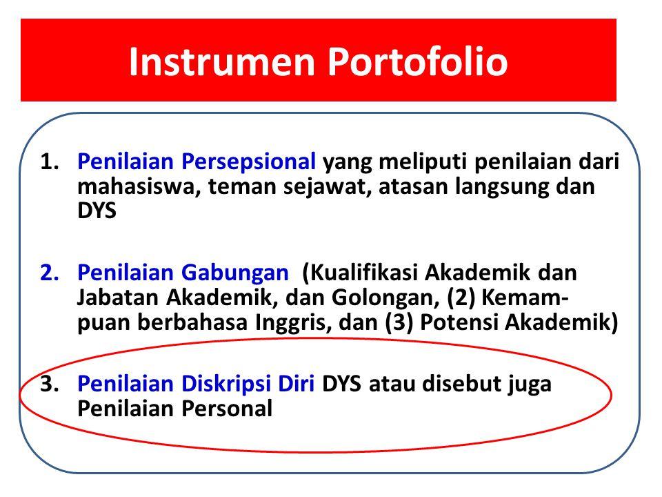 Instrumen Portofolio 1.Penilaian Persepsional yang meliputi penilaian dari mahasiswa, teman sejawat, atasan langsung dan DYS 2.Penilaian Gabungan (Kua