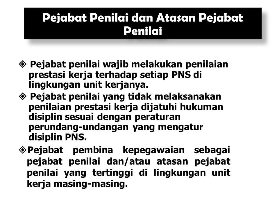  Pejabat penilai wajib melakukan penilaian prestasi kerja terhadap setiap PNS di lingkungan unit kerjanya.  Pejabat penilai yang tidak melaksanakan