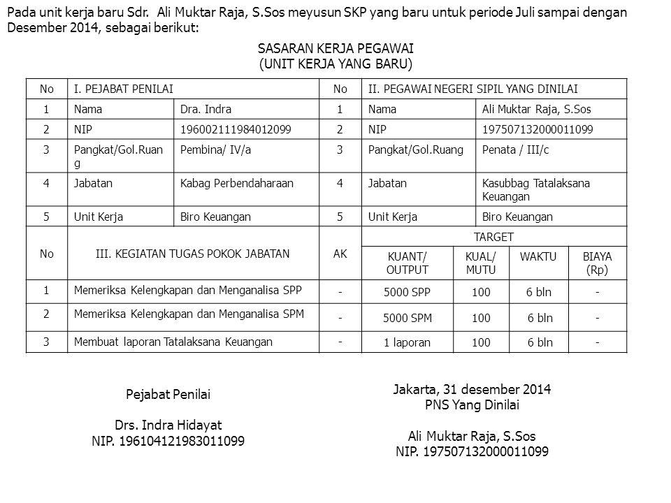 Pada unit kerja baru Sdr. Ali Muktar Raja, S.Sos meyusun SKP yang baru untuk periode Juli sampai dengan Desember 2014, sebagai berikut: SASARAN KERJA