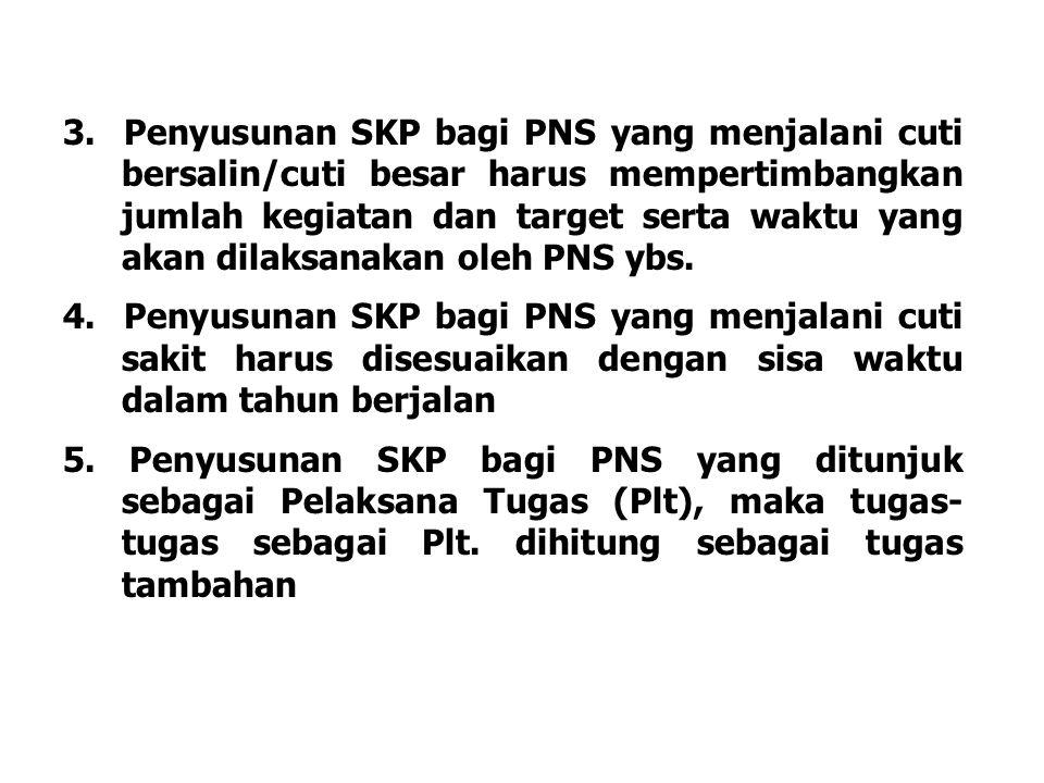3. Penyusunan SKP bagi PNS yang menjalani cuti bersalin/cuti besar harus mempertimbangkan jumlah kegiatan dan target serta waktu yang akan dilaksanaka