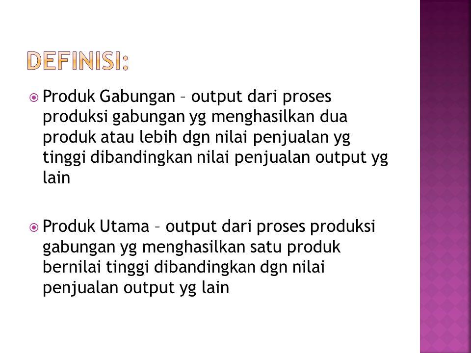  Produk sampingan – output dari proses produksi gabungan yg mempunyai nilai penjualan rendah dibandingkan nilai penjualan output yg lain  Titik pisah batas (Split –off point) adalah titik dimana produk-produk dapat dipisahkan sebagai unit-unit individual.