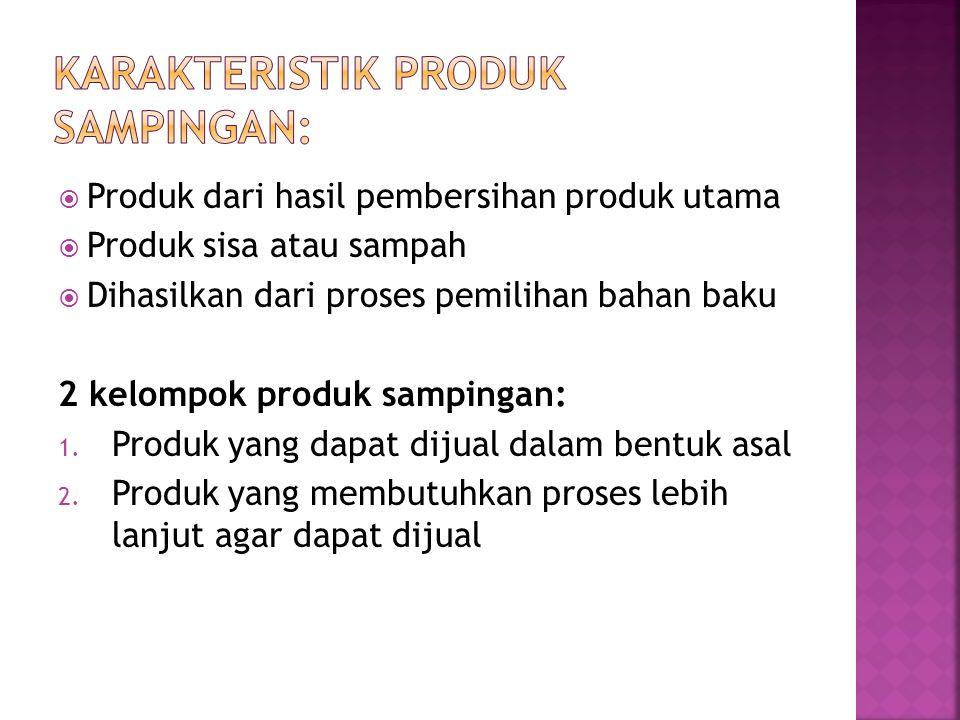  Produk dari hasil pembersihan produk utama  Produk sisa atau sampah  Dihasilkan dari proses pemilihan bahan baku 2 kelompok produk sampingan: 1. P