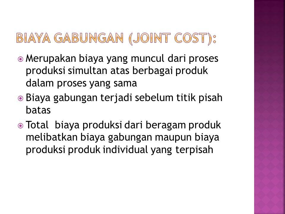  Merupakan biaya yang muncul dari proses produksi simultan atas berbagai produk dalam proses yang sama  Biaya gabungan terjadi sebelum titik pisah b