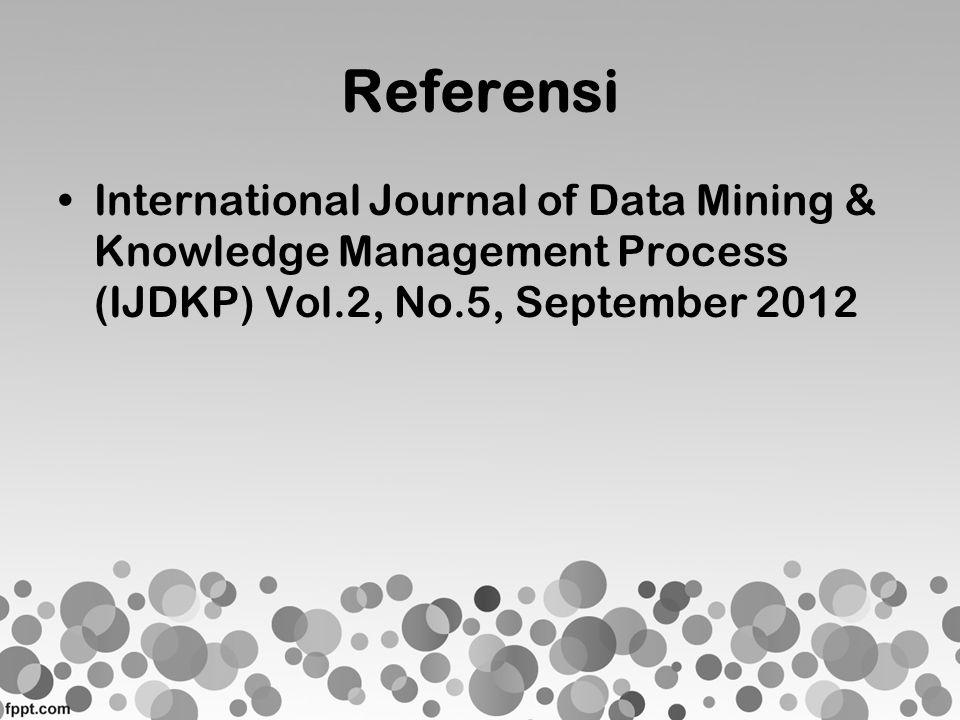 Referensi •International Journal of Data Mining & Knowledge Management Process (IJDKP) Vol.2, No.5, September 2012
