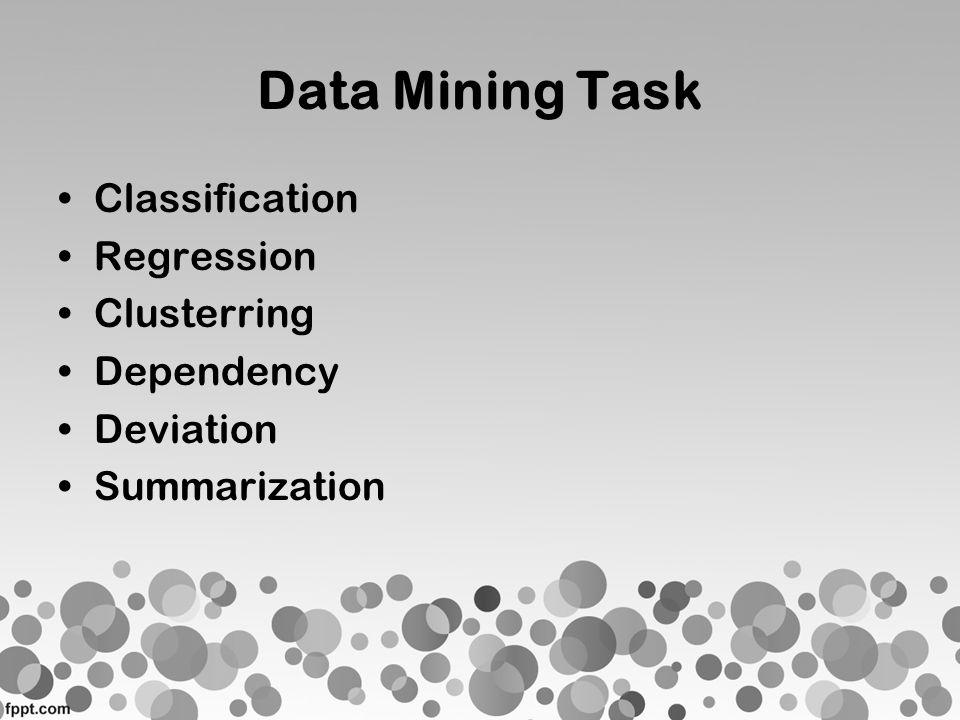 Dua Objektif dalam Pengerjaan Data Mining •Prediction Contoh : Classification, Regression dan Anomaly Detection •Description Contoh : Clustering, Association Rule Learning, dan Summarization)