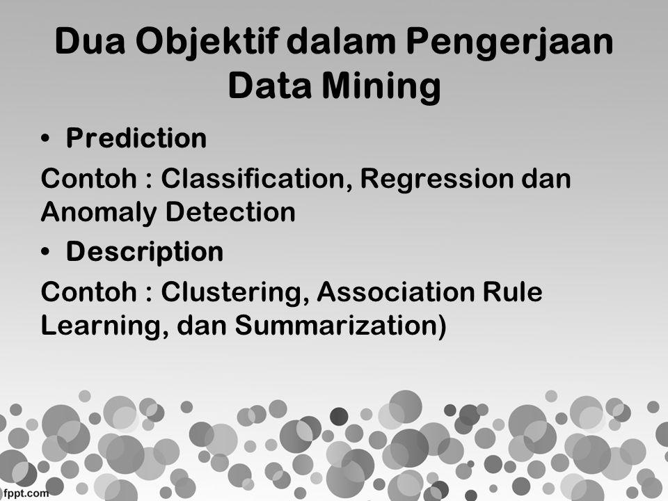 Dua Objektif dalam Pengerjaan Data Mining •Prediction Contoh : Classification, Regression dan Anomaly Detection •Description Contoh : Clustering, Asso