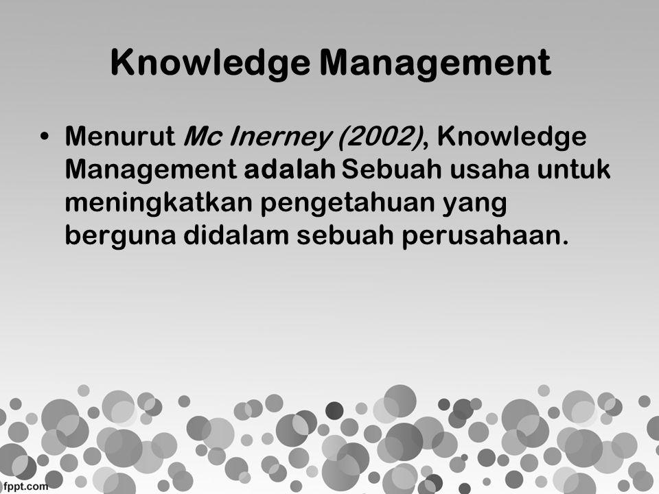 Knowledge Management •Menurut Mc Inerney (2002), Knowledge Management adalah Sebuah usaha untuk meningkatkan pengetahuan yang berguna didalam sebuah p