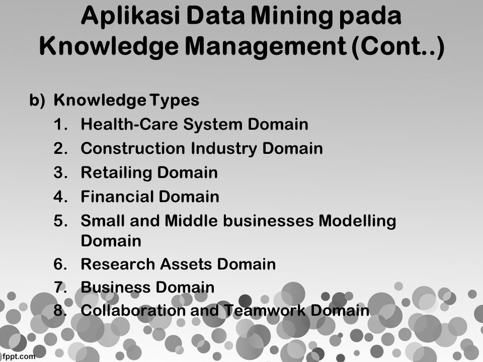 Aplikasi Data Mining pada Knowledge Management (Cont..) b)Knowledge Types 1.Health-Care System Domain 2.Construction Industry Domain 3.Retailing Domai