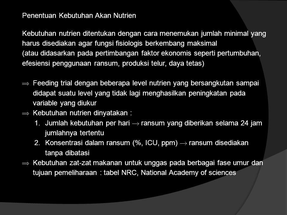 Penentuan Kebutuhan Akan Nutrien Kebutuhan nutrien ditentukan dengan cara menemukan jumlah minimal yang harus disediakan agar fungsi fisiologis berkem