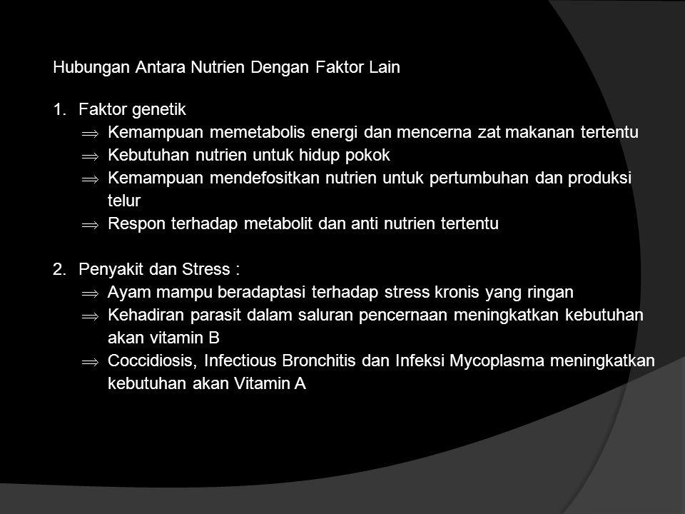 Hubungan Antara Nutrien Dengan Faktor Lain 1.Faktor genetik  Kemampuan memetabolis energi dan mencerna zat makanan tertentu  Kebutuhan nutrien untuk