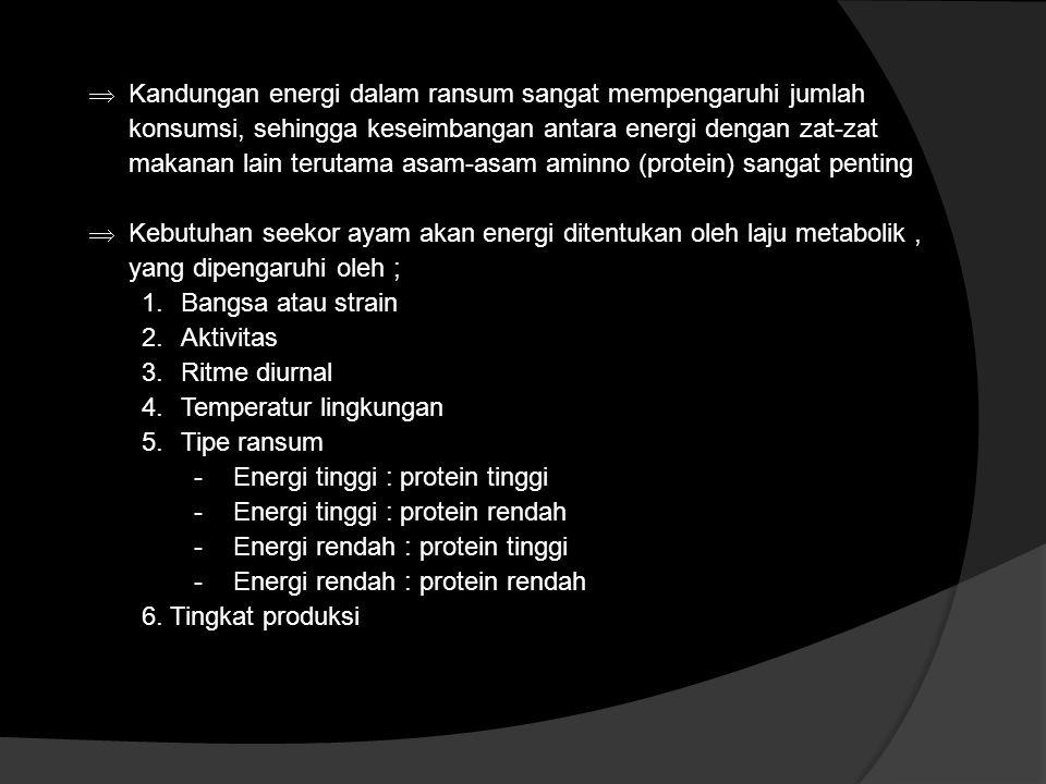 Kandungan energi dalam ransum sangat mempengaruhi jumlah konsumsi, sehingga keseimbangan antara energi dengan zat-zat makanan lain terutama asam-asa