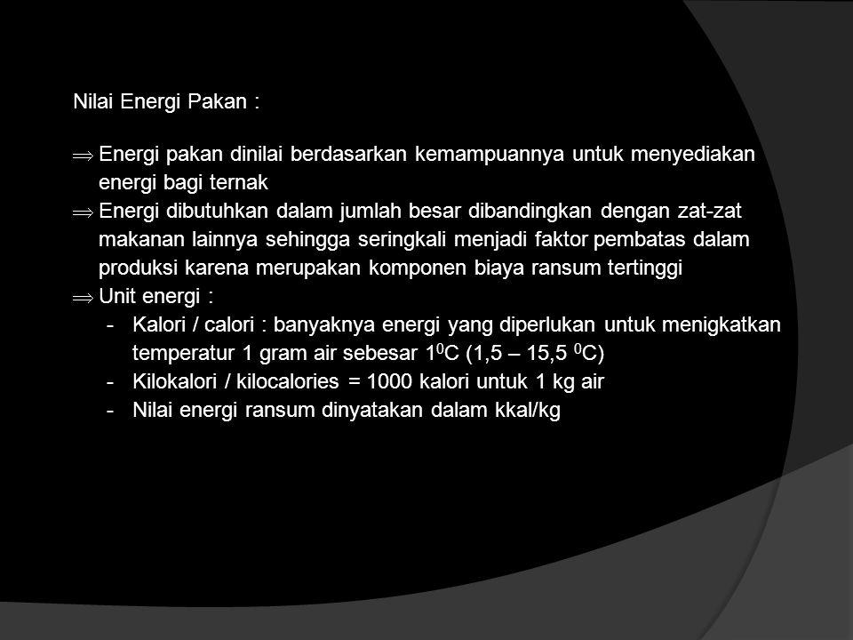 Nilai Energi Pakan :  Energi pakan dinilai berdasarkan kemampuannya untuk menyediakan energi bagi ternak  Energi dibutuhkan dalam jumlah besar diban