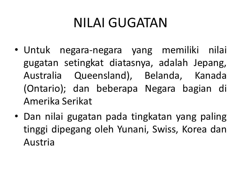 NILAI GUGATAN • Untuk negara-negara yang memiliki nilai gugatan setingkat diatasnya, adalah Jepang, Australia Queensland), Belanda, Kanada (Ontario);
