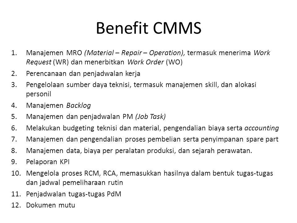 Benefit CMMS 1.Manajemen MRO (Material – Repair – Operation), termasuk menerima Work Request (WR) dan menerbitkan Work Order (WO) 2.Perencanaan dan penjadwalan kerja 3.Pengelolaan sumber daya teknisi, termasuk manajemen skill, dan alokasi personil 4.Manajemen Backlog 5.Manajemen dan penjadwalan PM (Job Task) 6.Melakukan budgeting teknisi dan material, pengendalian biaya serta accounting 7.Manajemen dan pengendalian proses pembelian serta penyimpanan spare part 8.Manajemen data, biaya per peralatan produksi, dan sejarah perawatan.