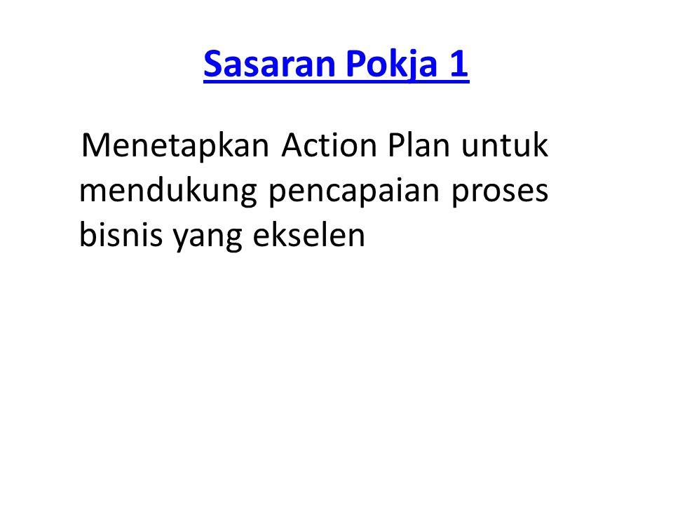 Sasaran Pokja 1 Menetapkan Action Plan untuk mendukung pencapaian proses bisnis yang ekselen