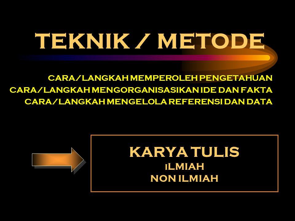 TEKNIK / METODE CARA/LANGKAH MEMPEROLEH PENGETAHUAN CARA/LANGKAH MENGORGANISASIKAN IDE DAN FAKTA CARA/LANGKAH MENGELOLA REFERENSI DAN DATA KARYA TULIS I LMIAH NON ILMIAH