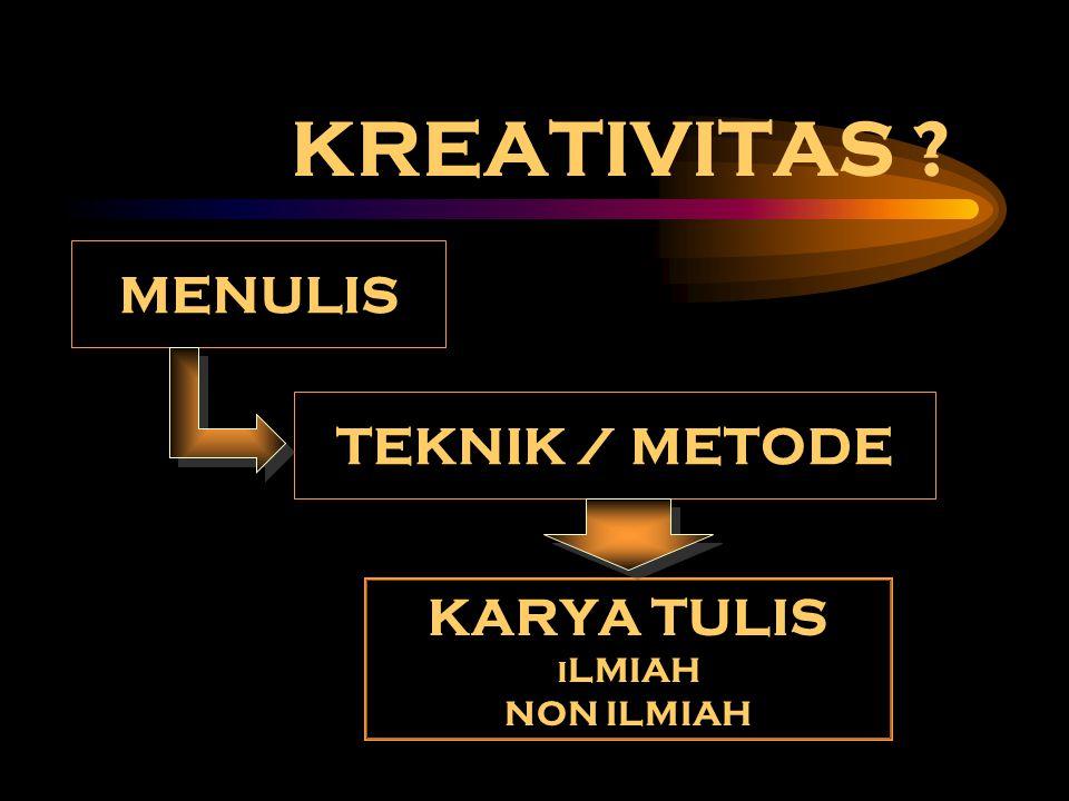 KREATIVITAS ? MENULIS TEKNIK / METODE KARYA TULIS I LMIAH NON ILMIAH