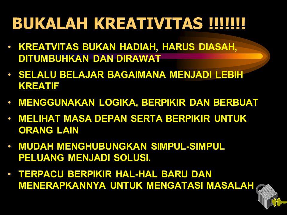 BUKALAH KREATIVITAS !!!!!!! •KREATVITAS BUKAN HADIAH, HARUS DIASAH, DITUMBUHKAN DAN DIRAWAT •SELALU BELAJAR BAGAIMANA MENJADI LEBIH KREATIF •MENGGUNAK