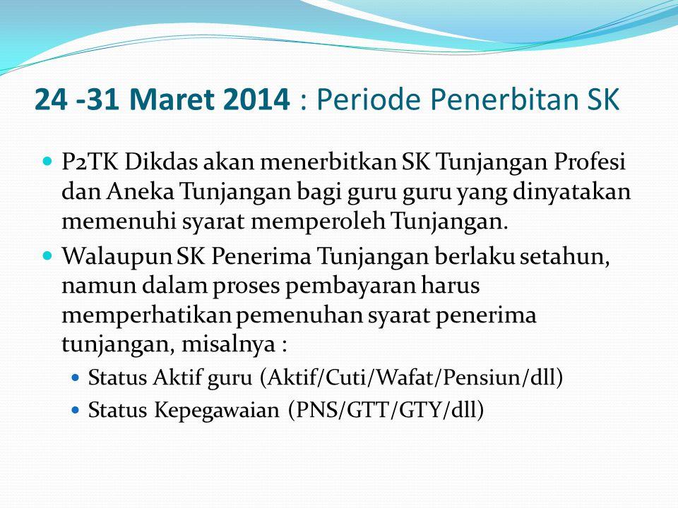 24 -31 Maret 2014 : Periode Penerbitan SK  P2TK Dikdas akan menerbitkan SK Tunjangan Profesi dan Aneka Tunjangan bagi guru guru yang dinyatakan memenuhi syarat memperoleh Tunjangan.