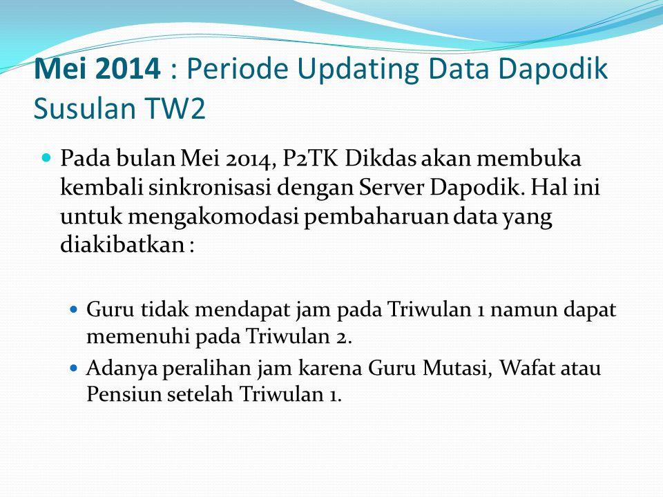Mei 2014 : Periode Updating Data Dapodik Susulan TW2  Pada bulan Mei 2014, P2TK Dikdas akan membuka kembali sinkronisasi dengan Server Dapodik.