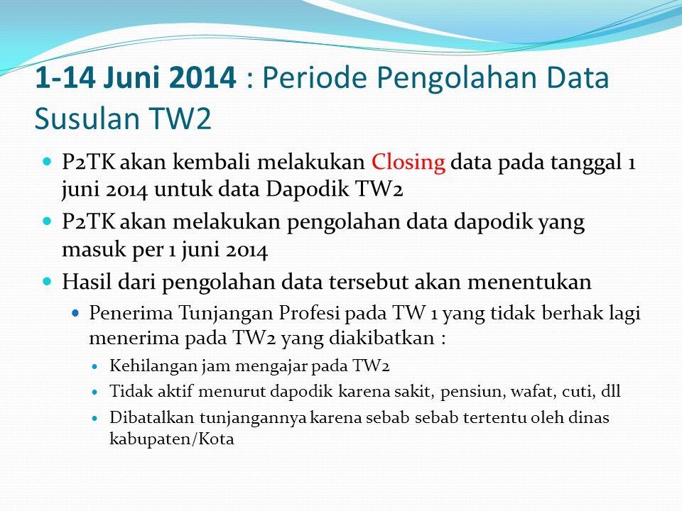 1-14 Juni 2014 : Periode Pengolahan Data Susulan TW2  P2TK akan kembali melakukan Closing data pada tanggal 1 juni 2014 untuk data Dapodik TW2  P2TK akan melakukan pengolahan data dapodik yang masuk per 1 juni 2014  Hasil dari pengolahan data tersebut akan menentukan  Penerima Tunjangan Profesi pada TW 1 yang tidak berhak lagi menerima pada TW2 yang diakibatkan :  Kehilangan jam mengajar pada TW2  Tidak aktif menurut dapodik karena sakit, pensiun, wafat, cuti, dll  Dibatalkan tunjangannya karena sebab sebab tertentu oleh dinas kabupaten/Kota