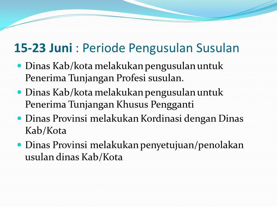 15-23 Juni : Periode Pengusulan Susulan  Dinas Kab/kota melakukan pengusulan untuk Penerima Tunjangan Profesi susulan.