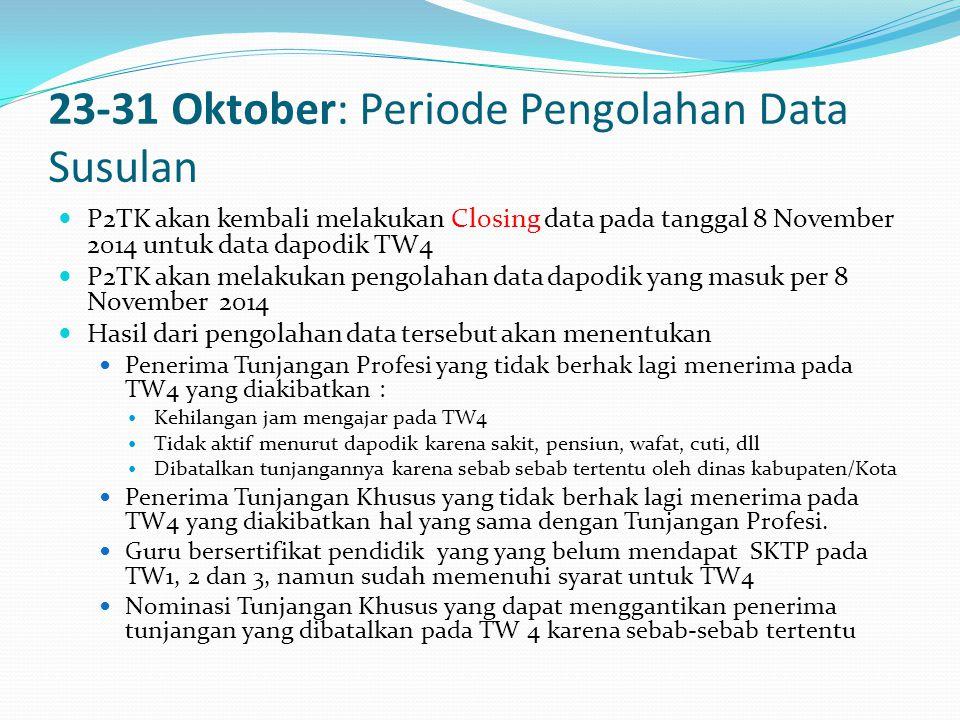 23-31 Oktober: Periode Pengolahan Data Susulan  P2TK akan kembali melakukan Closing data pada tanggal 8 November 2014 untuk data dapodik TW4  P2TK akan melakukan pengolahan data dapodik yang masuk per 8 November 2014  Hasil dari pengolahan data tersebut akan menentukan  Penerima Tunjangan Profesi yang tidak berhak lagi menerima pada TW4 yang diakibatkan :  Kehilangan jam mengajar pada TW4  Tidak aktif menurut dapodik karena sakit, pensiun, wafat, cuti, dll  Dibatalkan tunjangannya karena sebab sebab tertentu oleh dinas kabupaten/Kota  Penerima Tunjangan Khusus yang tidak berhak lagi menerima pada TW4 yang diakibatkan hal yang sama dengan Tunjangan Profesi.