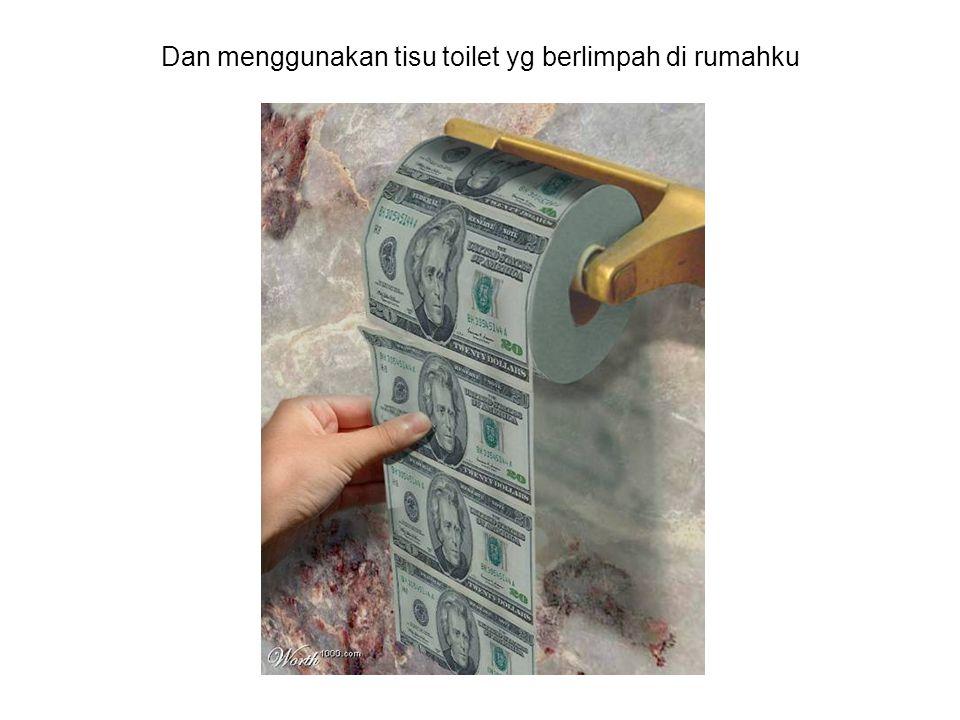 Dan menggunakan tisu toilet yg berlimpah di rumahku