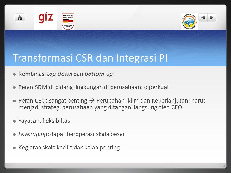 Transformasi CSR dan Integrasi PI  Kombinasi top-down dan bottom-up  Peran SDM di bidang lingkungan di perusahaan: diperkuat  Peran CEO: sangat pen
