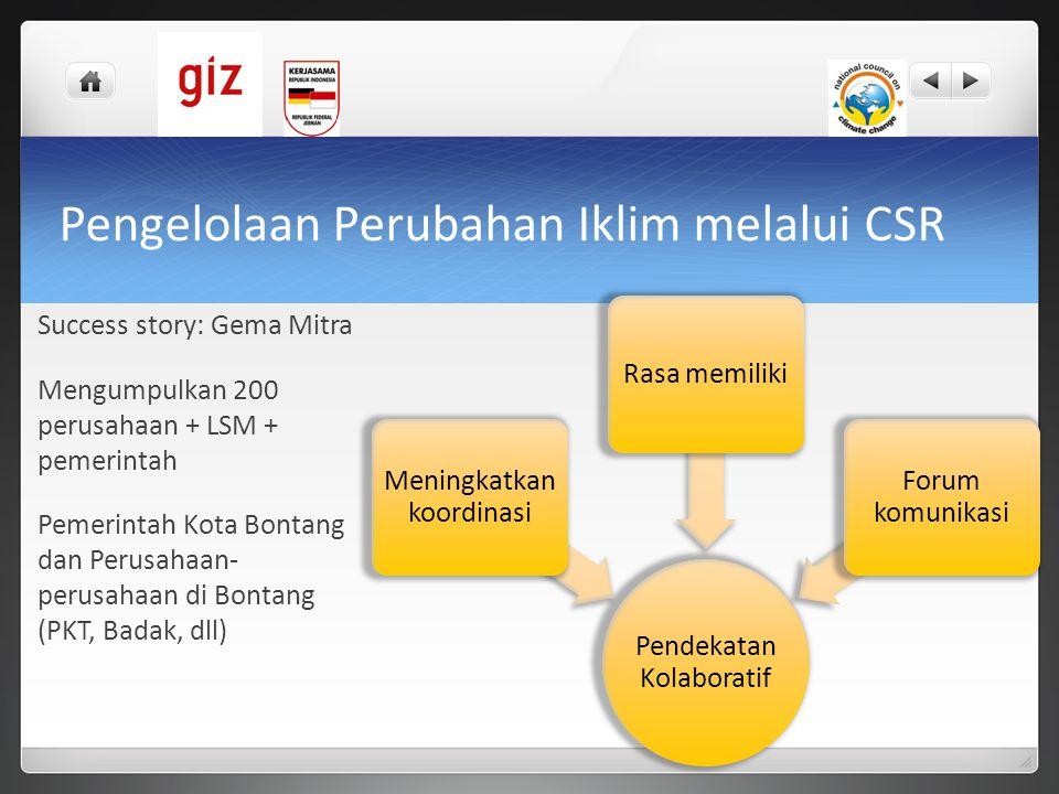 Pengelolaan Perubahan Iklim melalui CSR Success story: Gema Mitra Mengumpulkan 200 perusahaan + LSM + pemerintah Pemerintah Kota Bontang dan Perusahaa