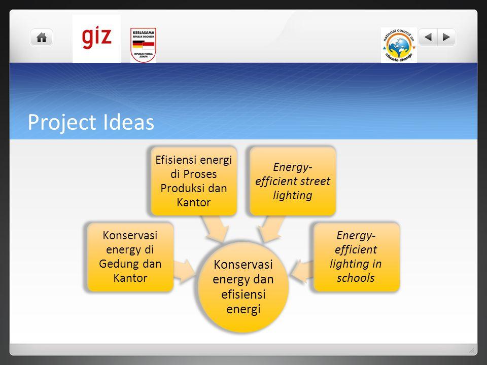 Project Ideas Konservasi energy dan efisiensi energi Konservasi energy di Gedung dan Kantor Efisiensi energi di Proses Produksi dan Kantor Energy- eff