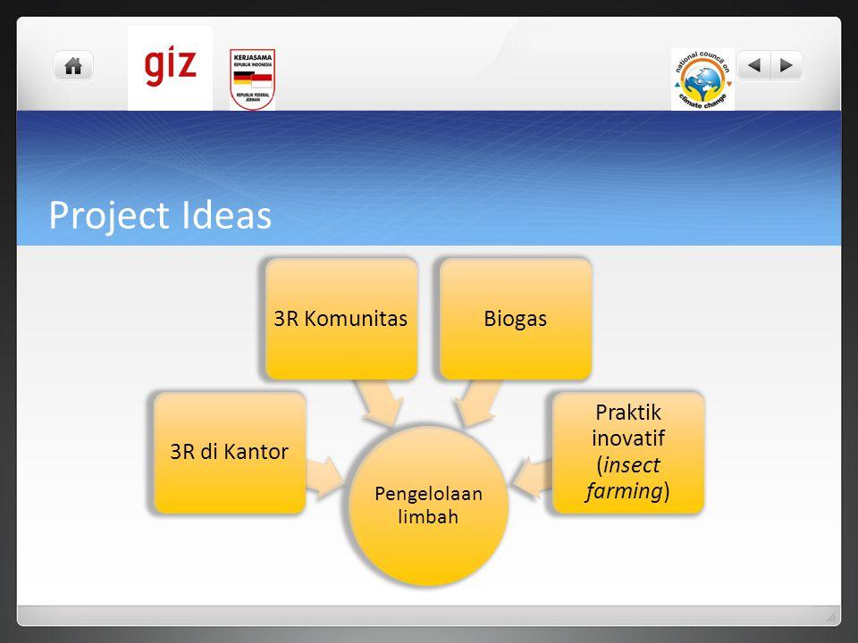 Project Ideas Pengelolaan limbah 3R di Kantor3R KomunitasBiogas Praktik inovatif (insect farming)
