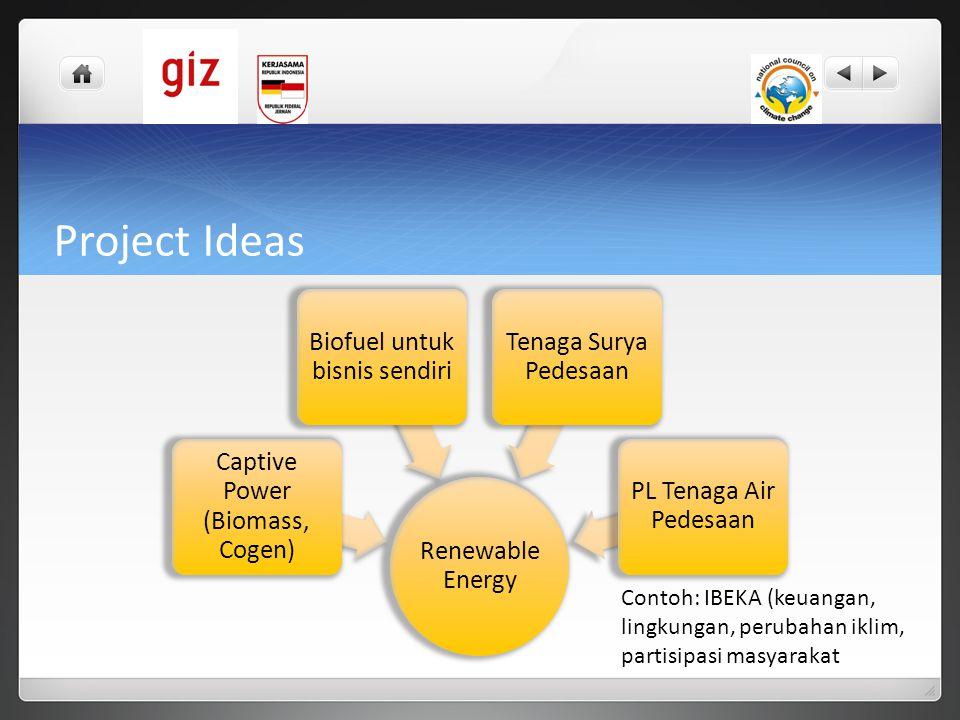 Project Ideas Renewable Energy Captive Power (Biomass, Cogen) Biofuel untuk bisnis sendiri Tenaga Surya Pedesaan PL Tenaga Air Pedesaan Contoh: IBEKA